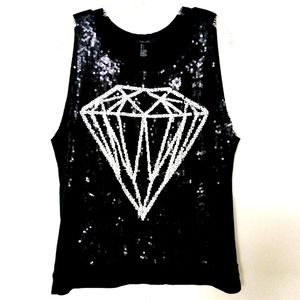 Forever 21 diamond sequin sweater top blouse Sz L